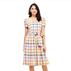 Fit and flare button down dress puffed sleeves